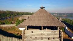 Khortytsya wooden castle - October 4: Aerial view:  central gates of Khortytsya Stock Footage