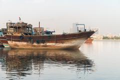 Traditional arabian dhows wooden boat Stock Photos