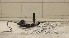 Worker using jackhammer. - stock footage
