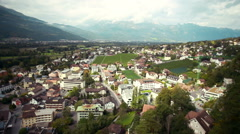 Panoramic view of the city in mountains Vaduz, Liechtenstein Stock Footage