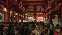 Asakusa Temple New Years Day Stock Footage
