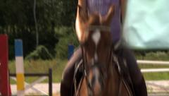 Girl rides horse Stock Footage