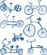 Doodle Bicycles Cutout - stock illustration