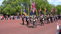 British army veterans march in a ceremonial parade down the Mall in London, Stock Footage