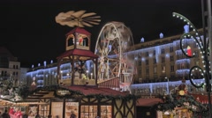 Striezelmarkt Dresden Christmas Market Timelapse Germany 23 Stock Footage