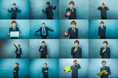 Business set photo collection of teen boy on the topic of succes Stock Photos