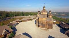 Khortytsya wooden castle - October 4: Aerial view:  wooden church of Khortytsya Stock Footage
