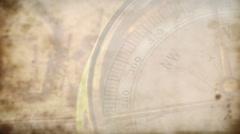 Pan across a compass dirty camera lens close up Stock Footage