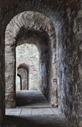 Archway in a medieval castle in Smederevo, Serbia - stock photo