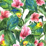 Stock Illustration of Seamless Background with Tropical Leaves, Parrots and Hibiscus