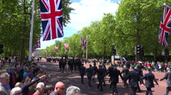 Stock Video Footage of British army veterans march in a ceremonial parade down the Mall in London,