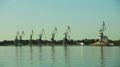 Gantry cranes at the quay. Stock Footage