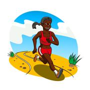 Young african woman cross country runner - stock illustration