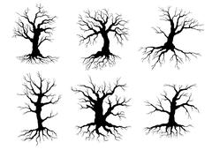 Old tree icons silhouettes with roots Stock Illustration