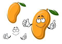 Yellow ripe cartoon mango fruit - stock illustration
