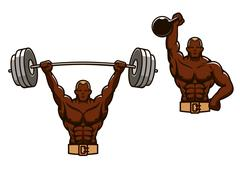Cartoon muscular man lifting heavy weights - stock illustration