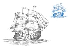 Sketch of sailing ship under full sail - stock illustration