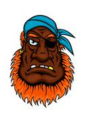 Grim evil looking one eyed pirate Stock Illustration