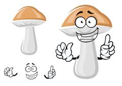 Cute cep mushroom with a happy smile - stock illustration