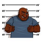 Police shot of a hardened criminal - stock illustration