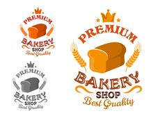 Bakery shop emblem with bread and wheat ears - stock illustration