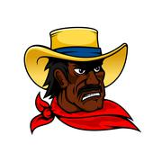 African american cartoon cowboy man in hat Stock Illustration