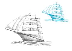 Sailing ship under sails in sea, sketch image Piirros