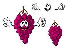 Stock Illustration of Cartoon purple grape fruit character