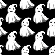 Smiling ghosts in white capes pattern Stock Illustration