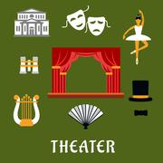 Theater and art flat icons Piirros