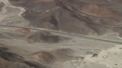 Panamericana highway crossing the geoglyphs near Nazca Stock Footage