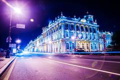 Beautiful night view of Winter Palace in Saint Petersburg - stock photo