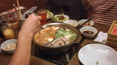 Shabu Shabu Japanese meal Stock Footage