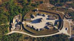Khortytsya wooden castle - October 4: Aerial view:  Khortytsya wooden castle top Stock Footage