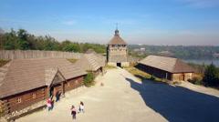 Khortytsya wooden castle - October 4: Aerial view: Khortytsya wooden castle on O Stock Footage
