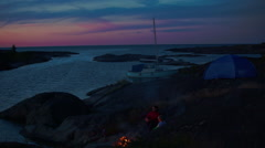 Stockholm archipelago, bonfire Stock Footage