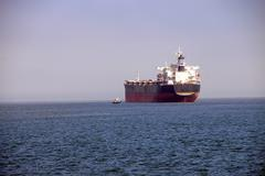 Oil tankers anchored in the Columbia rive Stock Photos