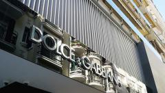 Dolge & Gabana luxury store signage - stock footage