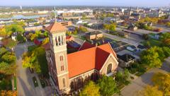 Breathtaking Aerial Tour Fly-Around; Twin Steeple Church Architecture Stock Footage