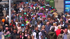Large British crowds walk in a business district in London, England. Stock Footage