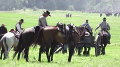 American Civil War Confederate Soldiers join Battle of Gettysburg Stock Footage