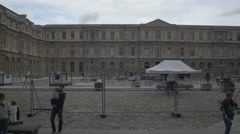 Paris Louvre museum - yard Stock Footage