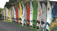 Old windsurfing boards Stock Footage