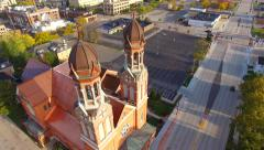 Breathtaking Aerial Tour Fly-Around Twin Steeple Church Architecture Stock Footage