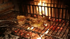 Stock Video Footage of Carne bbq grilled Pinza Restaurant Fireplace
