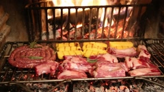 Carne Meat Food Fireplace Caminetto Polenta pork Stock Footage