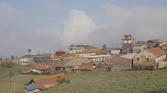 Cemoro Lawang village and onion fileds,Cemoro Lawang,Java,Indonesia Stock Footage
