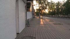 Morning in the city,empty streets and closed stores Stock Footage