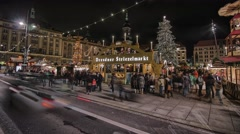 Striezelmarkt Dresden Christmas Market Timelapse Germany 22 Stock Footage