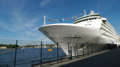 Cruise ship 2.7k in Stockholm in Summer sunshine Stock Footage